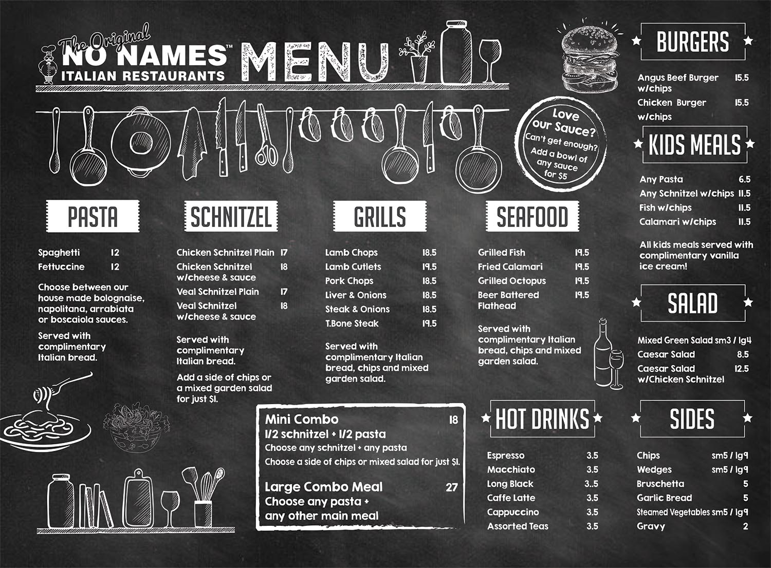 no names italian restaurant menu